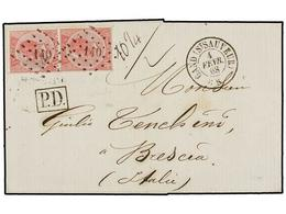 87 BELGICA. Of.20 (2). 1868. GAND To BRESCIA (Italy). Entire Letter Franked With Two <B>40 Cts.</B> Rose Stamps, Tied By - Stamps