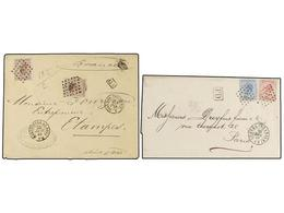 88 BELGICA. 1868-69. TWO Covers To FRANCE <B>30+30 Cts.</B> And <B>20+40 Cts.</B> Frankings. <B>DOUBLE WEIGHT</B> Covers - Stamps