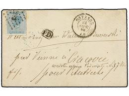 90 BELGICA. Of.18. 1869. OSTENDE To CRACOVIE (Poland). Envelope Franked With <B>20 Cts.</B> Blue Stamp. Reduced Rate (pr - Stamps
