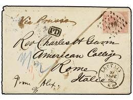 91 BELGICA. Of.20. 1869. LOUVAIN To ROME (Italy). Envelope Franked With <B>40 Cts.</B> Rose Stamp. Endorsed <I>'Via Prus - Stamps