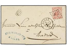 92 BELGICA. Of.20. 1871. LIEGE To MADRID (Spain). Folded Letter Franked With <B>40 Cts.</B> Rose Stamp, Bied By <B>217 G - Stamps