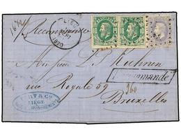 93 BELGICA. Of.30 (2), 31. 1870. LIEGE To BRUXELLES. Entire Letter Franked With Two <B>10 Cts.</B> Green And <B>20 Cts.< - Stamps