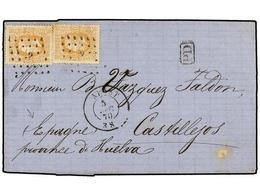 94 BELGICA. Of.33 (2). 1870. ALOST To SPAIN. Folded Letter Franked With Two <B>30 Cts.</B> Ocre Stamps, Tied By <B>'3' G - Stamps