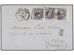 95 BELGICA. Of.31 (3). 1871. TOURNAY To CADIZ (Spain). Folded Letter Franked With Strip Of Three <B>20 Cts.</B> Blue Sta - Stamps