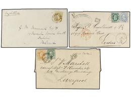 96 BELGICA. 1871-77. SIX Covers To GREAT BRITAIN With <B>25 Cts., 30 Cts., 10+30 Cts., 20+20 Cts., 10+30 Cts.</B> And <B - Stamps