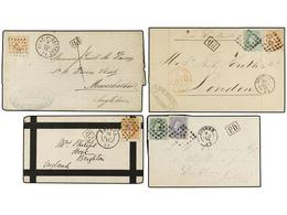 97 BELGICA. 1871-84. SEVEN Covers To GREAT BRITAIN With <B>25 Cts.</B> (2), <B>5 + 20 Cts.</B>, <B>30 Cts.</B> (2), <B>1 - Stamps