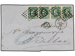 99 BELGICA. Of.30 (4). 1872. ANVERS To BILBAO (Spain). Folded Letter Franked With A Strip Of Four <B>10 Cts.</B> Geen St - Stamps