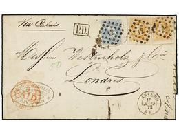100 BELGICA. Of.31, 33 (2). 1872. ANVERS To LONDON. Folded Letter Franked With <B>20 Cts. </B>blue And Two <B>30 Cts.</B - Stamps