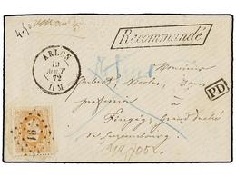 101 BELGICA. Of.33. 1872. ARLON To LUXEMBOURG. Envelope Franked With <B>30 Cts.</B> Ocre. <B>RECOMMANDE</B> Mark. Arriva - Stamps