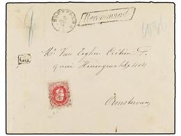 102 BELGICA. Of.34. 1872. BRUXELLES To HOLLAND. Envelope Franked With <B>40 Cts.</B> Rose Stamp. <B>RECOMMANDE</B> Mark. - Stamps