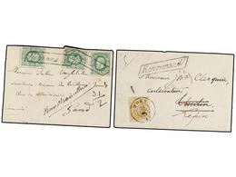 103 BELGICA. 1872. TWO Registered Covers With <B>30 Cts.</B> And <B>10+10+10 Cts.</B> Frankings. - Stamps