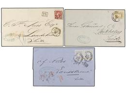 104 BELGICA. 1872-74. THREE Covers To SWEDEN With <B>25 Cts., 20+20 Cts.</B> And <B>40 Cts.</B> Frankings. - Stamps