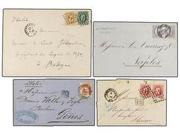 105 BELGICA. 1872-74. FOUR Covers To ITALY With <B>10+30 Cts., 20+20 Cts., 40 Cts.</B> And <B>40+40 Cts.</B> Franking. - Stamps