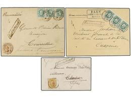 106 BELGICA. 1872-80. THREE Registered Covers With <B>30 Cts., 10+10+10 Cts.</B> And <B>5+10+10+10 Cts.</B> Frankings. - Stamps