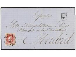 108 BELGICA. Of.34. 1873. HEYST To MADRID (Spain). Folded Letter Franked With <B>40 Cts.</B> Rose Stamp. Arrival Cds. On - Stamps