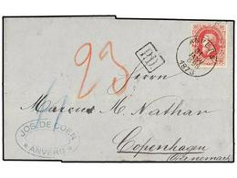 109 BELGICA. Of.34. 1873. ANVERS To DENMARK. Entire Letter Franked With <B>40 Cts.</B> Rose Stamp. Arrival Cds. On Rever - Stamps
