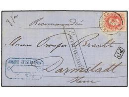 110 BELGICA. Of.34. 1873. VEVIERS To HOLLAND. Folded Letter Franked With <B>40 Cts.</B> Rose Stamp. <B>RECOMMANDE</B> Ma - Stamps