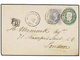 112 BELGICA. Of.31. 1873. BRUXELLES To LONDON. <B>10 Cts.</B> Green Postal Stationery Envelope Uprated With <B>20 Cts.</ - Stamps