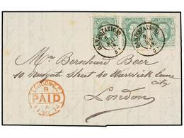 113 BELGICA. Of.30 (3). 1874. GAND To LONDON. Entire Letter Franked With Strip Of Three <B>10 Cts.</B> Green Stamps. Arr - Stamps