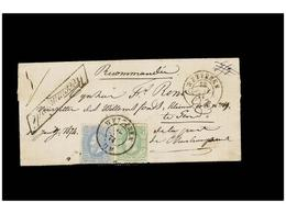 114 BELGICA. Of.30, 31. 1874. WETTEREN To GAND. Folded Letter Franked With <B>10 Cts.</B> Green And <B>20 Cts.</B> Blue. - Stamps