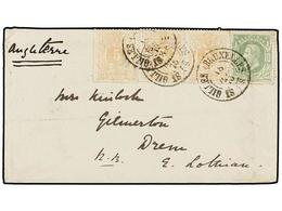 115 BELGICA. Of.28 (3), 30. 1875. BRUXELLES To GREAT BRITAIN. Envelope Franked With Strip Of Three <B>5 Cts.</B> Ocre An - Stamps