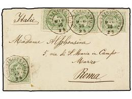 116 BELGICA. Of.30 (4). 1875. LOUVAIN To ROMA (Italy). Envelope Franked With Four <B>10 Cts.</B> Green Stamps. Arrival C - Stamps
