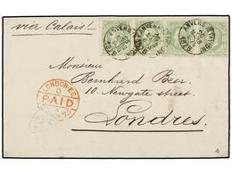 117 BELGICA. Of.30 (4). 1875. ANVERS To LONDON. Folded Letter Franked With Four <B>10 Cts.</B> Green Stamps. Arrival Cds - Stamps