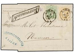 118 BELGICA. Of.30, 33. 1875. LIEGE To NAMUR. Entire Letter Franked With <B>10 Cts.</B> Green And <B>30 Cts.</B> Ocre St - Stamps