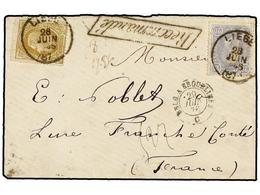 120 BELGICA. Of.31, 32. 1876. LIEGE To FRANCE. Envelope Franked With <B>20 Cts. </B>blue And <B>25 Cts.</B> Olive Stamps - Stamps