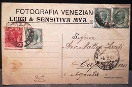 CARTOLINA PUBBLICITARIA - FOTOGRAFIA VENEZIANA LUIGI & SENSITIVA MYA ANNO 1921 DA TERMOLI PER L'AQUILA - Altre Città