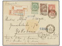276 BELGICA. Of.56, 61. 1903. BERCHEM To YOKOHAMA (Japan). <B>10 Cts.</B> Rose Postal Stationery Envelope, Uprated With  - Stamps