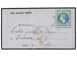 516 FRANCIA. 1870 (Oct. 16). NEULLY To TREVOUX. <B>BALLOON 'LE VICTOR HUGO'</B>. Entire Letter Sent From A Soldier <I>'G - Stamps