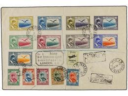 954 IRAN. Mi.569, 581/85, 597/605. 1930 (7-IX). TEHERAN To GREAT BRITAIN. <B>AIR MAIL.</B> Spectacular Bright Franking. - Stamps