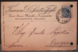 CARTOLINA PUBBLICITARIA - FRANCESCO DE SANTIS & FIGLI - FERRO ACCIAI E FERRAMENTA - DA GIULIANOVA PER OMEGNA 1921 - Teramo