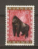 Ruanda-Urundi - 1959 - Gorille - Publicité MILKANA Au Dos Du Cob 205 - MNH - 1948-61: Neufs