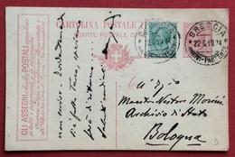 CARTOLINA POSTALE PUBBLICITARIA GLI ASSEGNI POSTALI... DA BRESCIA A BOLOGNA IN DATA 22/6/24 - 1900-44 Vittorio Emanuele III