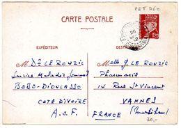 Carte 1f20 Pétain Oblitérée De Bobo Dioulasso Côte D'Ivoire Du 26 Septembre 1942 - Entiers Postaux