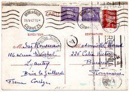 Carte 1f20 Pétain + 60c X2 (tarif 2f40) Du 26 V 42 Pour La ROUMANIE - Censure - Entiers Postaux