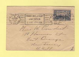 Paris 42 Rue Balzac - Paris Mai Juillet Exposition D Art Italien - 1935 - Destination USA - Marcophilie (Lettres)