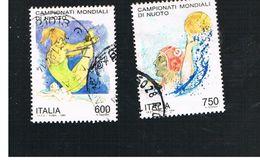 ITALIA REPUBBLICA  - UNIF. 2141.2142 -   1994 MONDIALI DI NUOTO  -            USATO - 6. 1946-.. Repubblica