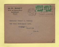 Paris - Fetez Les Meres 20 26 Mai 1946 Aidez Les Meres - Destination USA - Marianne De Gandon - Postmark Collection (Covers)