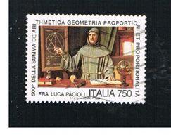 ITALIA REPUBBLICA  - UNIF. 2132   -   1994 LUCA PACIOLI      -            USATO - 6. 1946-.. Repubblica
