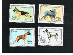 ITALIA REPUBBLICA  - UNIF. 2127.2130   -   1994 CANI      -            USATO - 6. 1946-.. Repubblica