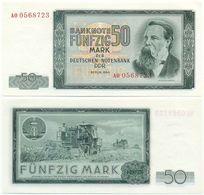 DDR 1964, 50 Mark, Deutsche Notenbank, F. Engels, KN 7stellig, Geldschein, Banknote - 50 Deutsche Mark