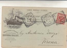 Navigazione A Vapore, Servizio Postale Ravenna Trieste Spedizioni, Carte Postale Pubblicitaria. Viagg. Per Verona 1907 - Poste & Postini