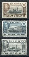 RC 6928 FALKLAND 83 / 84 + 91B - 3 VALEURS GEORGE VI NEUF * TB - Falkland Islands