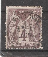 Type SAGE, Yvert N° 88 , 4 C Lilas Brun  Obl Cachet Central De TOULOUSE, Haute Garonne   B/TB - 1876-1898 Sage (Type II)
