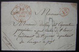 1832 Saint Denis Cachet Rouge Plus Id Sur Lettre Taxée En Bleu Pour Prat Arrondissement De Saint Girons (Ariège) - Postmark Collection (Covers)