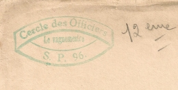 CERCLE DES OFFICIERS S. P. 96. LE VAGUEMESTRE. 1922. - Marcophilie (Lettres)