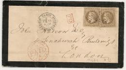 Double Port, ETOILE 35 De PARIS MINISTERE DES FINANCES Pour LONDON Angleterre. - Marcophilie (Lettres)